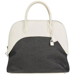 Hermes White Swift Leather and Black Denim Bolide 35cm Bag, 2013