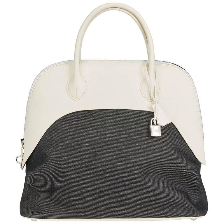 Hermes White Swift Leather and Black Denim Bolide 35cm Bag, 2013  For Sale