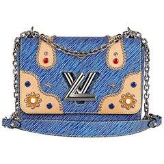 Louis Vuitton Blue Denim Epi Leather Studs and Coloured Cabochons Twist MM, 2017