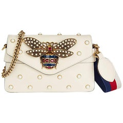 Gucci Ivory Embellished Calfskin Leather Broadway Clutch, 2018