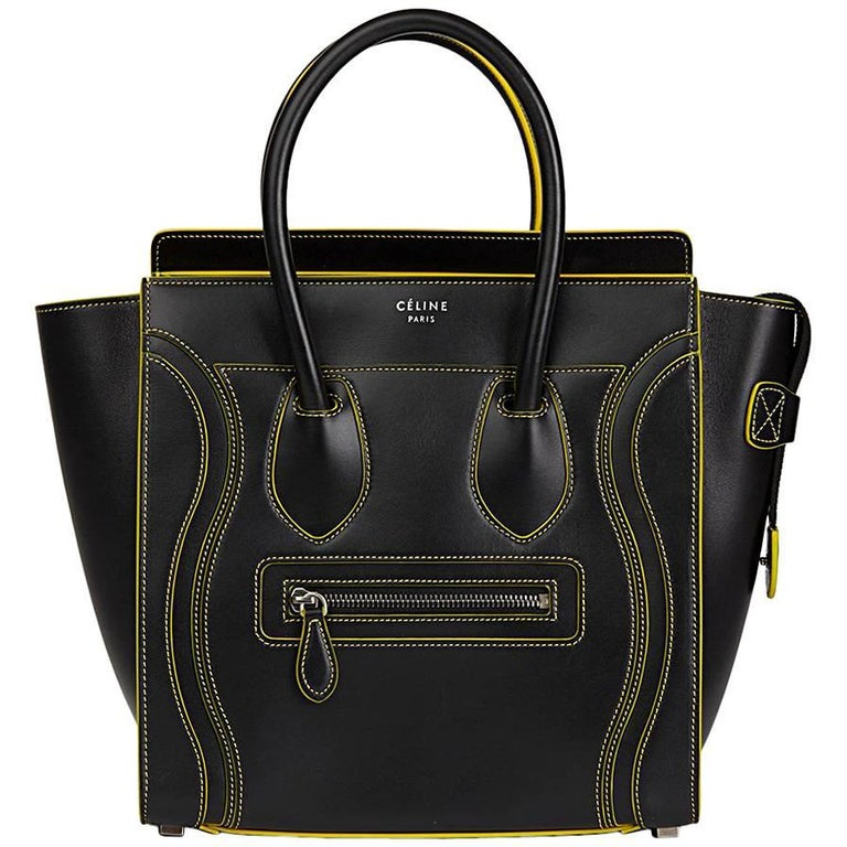 2016 Celine Black Smooth Calfskin Leather Debossed Micro Luggage Tote  For Sale