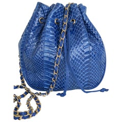 Royal Blue Python Leather Shoulder Bag