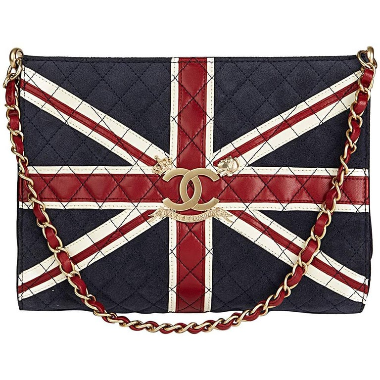 Chanel Navy Suede Red and White Lambskin Union Jack Shoulder Bag, 2009