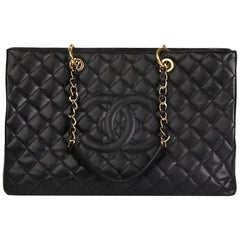 2012 Chanel Black Quilted Caviar Leather Grand Shopping Tote XL