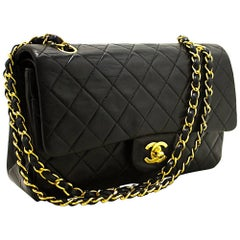 """Chanel 2.55 Double Flap 10"""" Chain Black Quilted Lamb Shoulder Bag"""