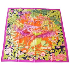 Hermes Scarf Flamingo Party Miami 90 cm Silk Limited Edition Pink Carre New w/ B