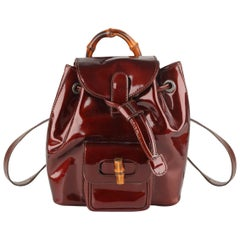 Gucci Brown Patent Leather Mini Bamboo Backpack Shoulder Bag