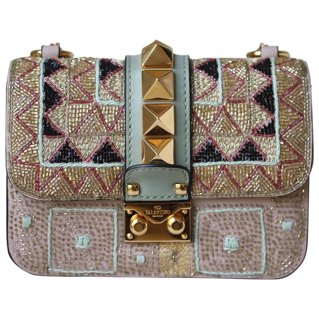 Valentino Rockstud Lock Mini Bead Embellished Shoulder Bag