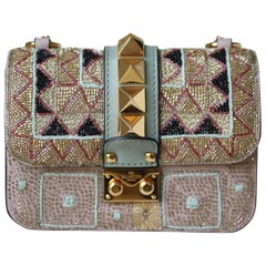 Valentino Rockstud Lock Mini Bead Embellished Shoulder Bag