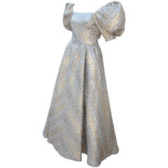 Leonard Silver and Gold Lamé Brocade Ball Gown Dress, 1980s