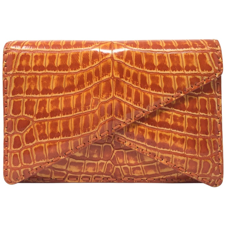 a29f54e1afbb Bottega Veneta BV Crocodile Orange Leather Clutch For Sale at 1stdibs