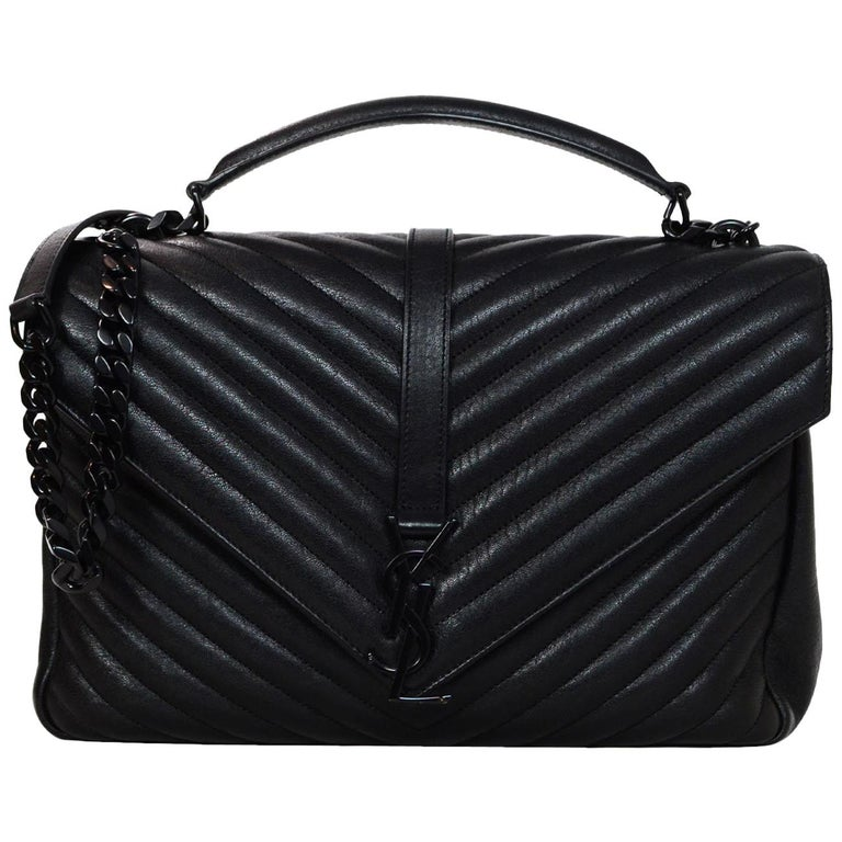 0d8e5f1f1744 Saint Laurent Black on Black Sheepskin Chevron Large College Monogram Bag  For Sale at 1stdibs