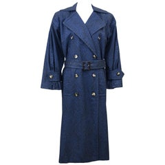 1980's YSL Yves Saint Laurent Navy Trench Coat