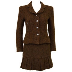 1997 Chanel Fall Brown Boucle Skirt Suit