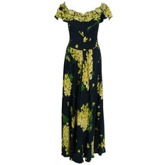 1930's Chartreuse Floral Print Silk Rayon Applique Off-Shoulder Maxi Dress Gown