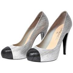 Chanel Silver Silk Black Cap Toe Pumps - Size 37