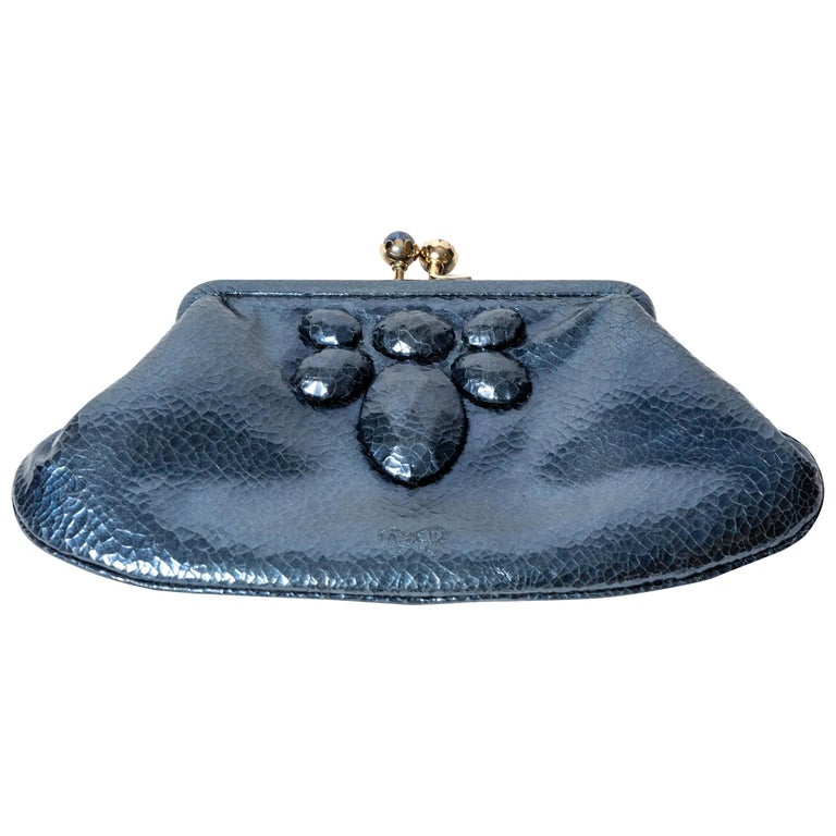 Anya Hindmarch Cracked Metallic Foil Leather Clutch