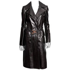Gucci Leather Maxi Coat with Belt -  Size 6