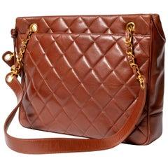 Chanel Brown Lambskin Shoulder Bag, circa 1995