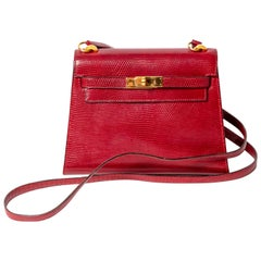 Hermes Vintage Custom Made Rouge Lizard 20 cm Mini Kelly Bag / Crossbody
