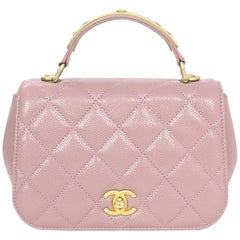 Chanel Blush Caviar Mini Carry Around Top Handle Bag with Dust Bag