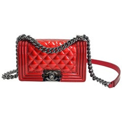 Chanel Small Red Patent Leather crossbody Boy Bag
