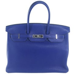 Hermes Birkin 35 Togo leather Blue Electric PHW