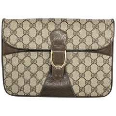 Gucci Vintage GG Monogram Clutch crossbody with Strap and Gold Hardware