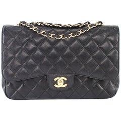 Chanel Single Flap Jumbo caviar leather black with ghw
