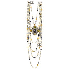Chanel 2017 Faux Pearl & Beaded Maltese Cross Pendant Necklace with Box