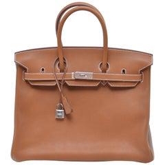 Hermes Birkin 35 CM  Bag Very Rare Veau Barenia Faubourg Palladium Hardware NEW
