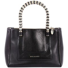 Bvlgari Serpenti Double Zip Tote Leather and Python Small