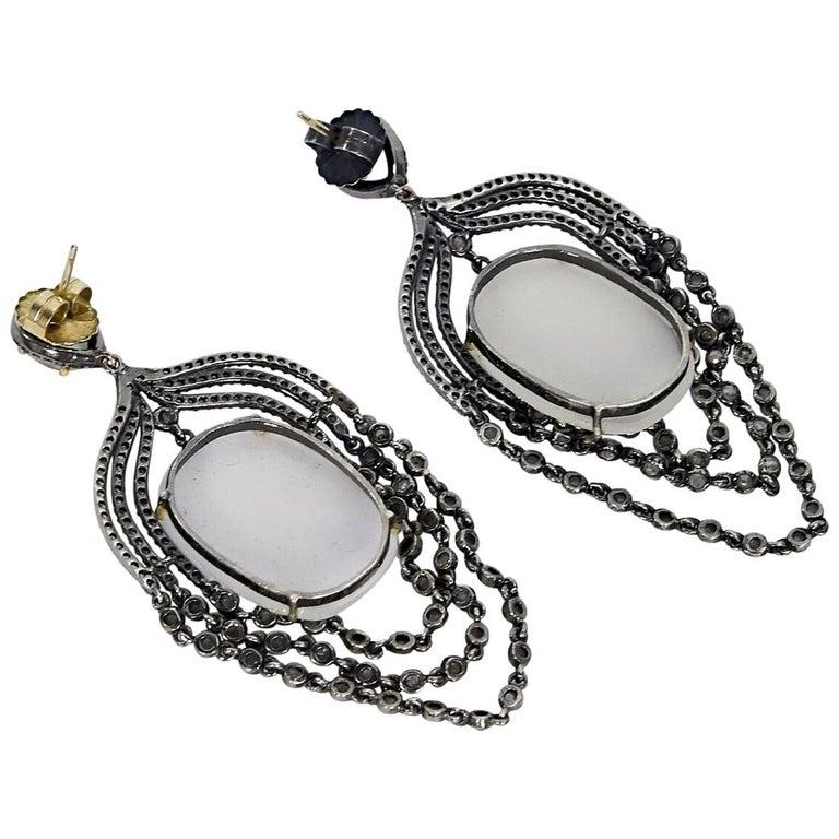 Gunmetal Jennifer Miller Diamond Chandelier Earrings For