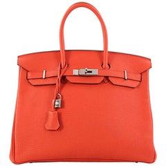 829592dcab22 Hermes Birkin Handbag Feu Togo with Palladium Hardware 35
