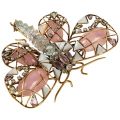 Multi Stone Butterfly Brooch by Iradj Moini