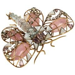 Multi Stone Butterfly Brooch by Iradj Moini