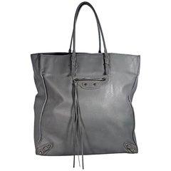 Grey Balenciaga Leather Papier A5 Tote Bag