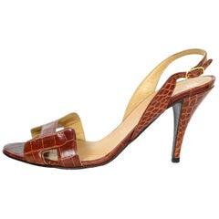 Hermes Cognac Crocodile H Night Sandals Sz 38