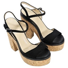 Black Jimmy Choo Suede Platform Sandals