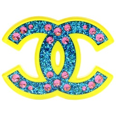 6/28 Chanel Blue & Yellow Glitter CC Brooch with Box