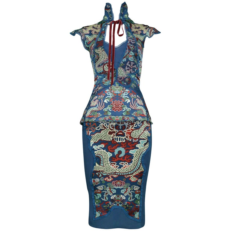 Tom Ford for Yves Saint Laurent Vintage Teal Chinese Dragon Ensemble, 2004