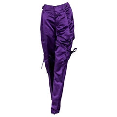Purple Vintage Gucci Silk-Blend Cargo Pants