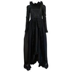 c.1972 Bill Blass Backless Ruffle Taffeta Dress w Organza Skirt Overlay