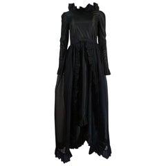 c.1972 Bill Blass Backless Ruffle Taffeta Dress w Organza Skirt Overlay