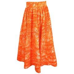 1970s Yves Saint Laurent Printed Cotton Fulll Circle Skirt