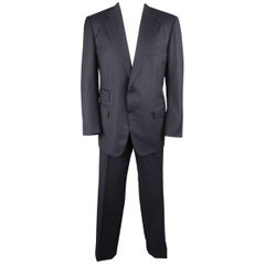 Tom Ford Men's Black Stripe Wool Notch Lapel Suit