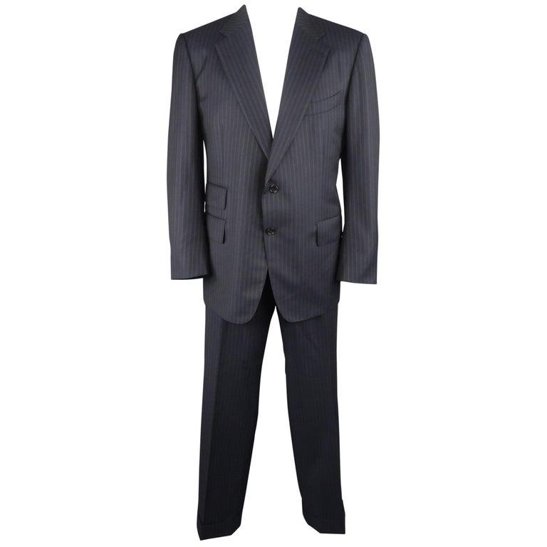 Tom Ford Men's Black Stripe Wool Notch Lapel Suit For Sale