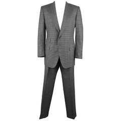 Men's  46 Long Dark Gray Plaid Wool / Silk Notch Lapel Suit
