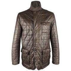 Men's ERMENEGILDO ZEGNA 46 Brown Quilted Leather Flap Pocket Jacket