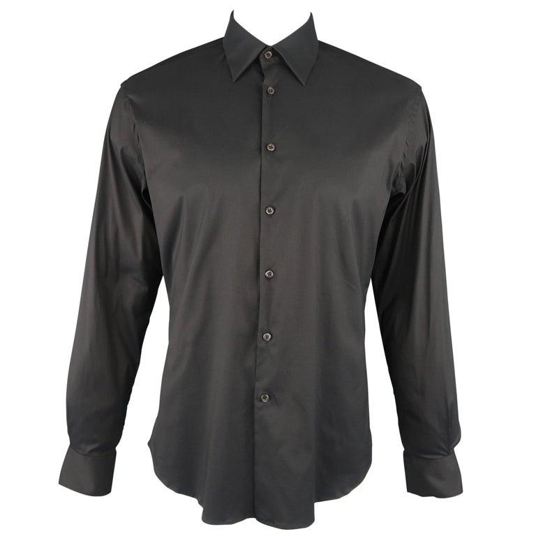 Men's PRADA Size L Black Solid Cotton Blend Long Sleeve Shirt